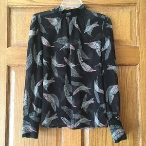 Who What Wear Sheer High-Neck Feathers Top Small